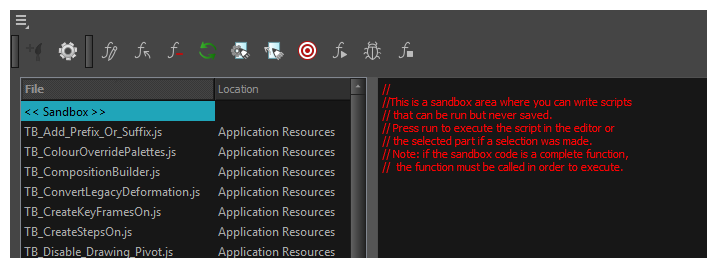 harmony 16 0 premium documentation using the scripting sandbox