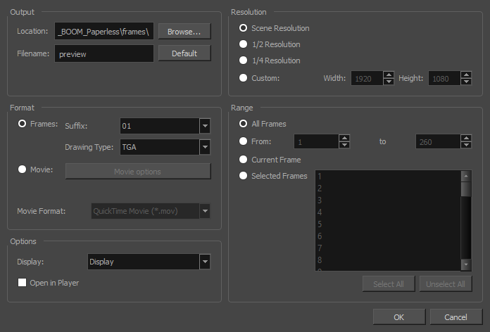 Harmony 16 0 Premium Documentation: Exporting OpenGL Frames