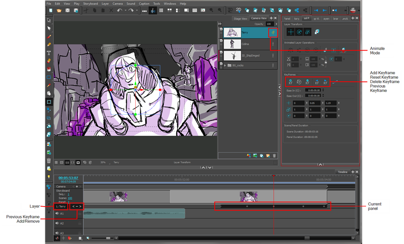 Storyboard Pro 5 1 Online Help: Animating Layers on the Layer Track