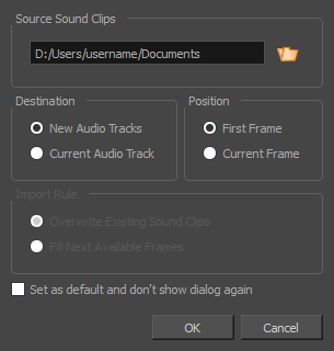 Storyboard Pro 6 0 Online Help: Importing Sound Clips