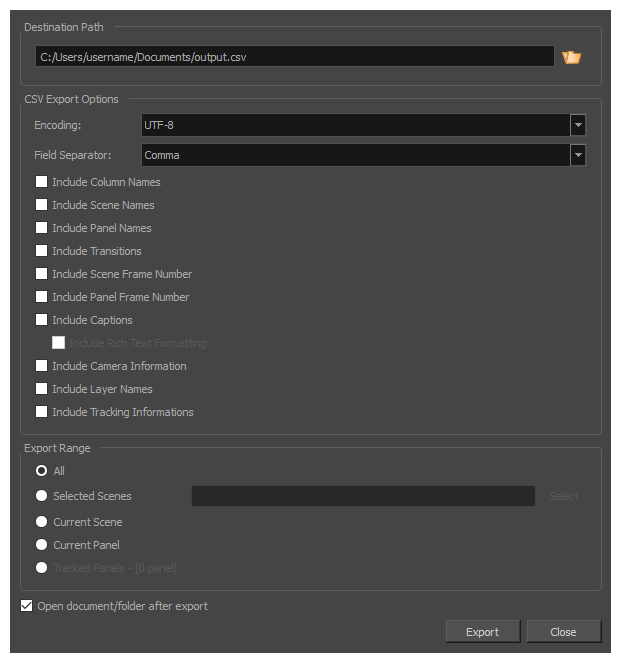 Storyboard Pro 6 0 Online Help: Exporting CSV Tables