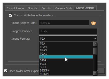 Storyboard Pro 6 0 Online Help: Write Node Image Formats for