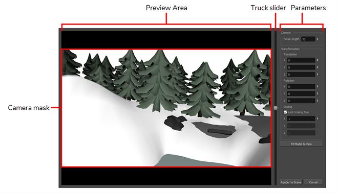 Storyboard Pro 6.0 Online Help: Render 3D Model Dialog Box